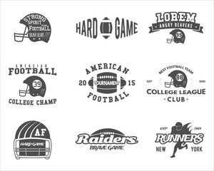 College rugby and american football team badges, logos, labels