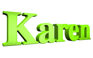 3D Karen text on white background