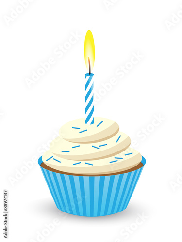 Quot Birthday Cupcake With One Candle Blue Quot Stock Image And