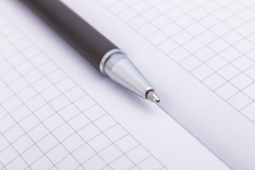 Close-up of ballpoint. Focus on tip