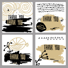 A set of hand-drawn style of greeting cards
