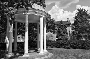 Old Well Historic Monument on the Campus of UNC at Chapel Hill in Black and White