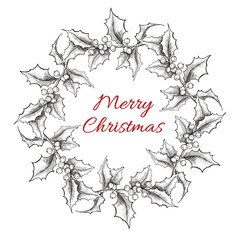 Vintage engraving Christmas wreath illustration.