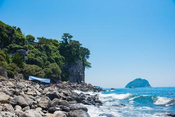 済州島 正房瀑布の近くの海 Sea near The Jeongbang Waterfall, Jeju-do, South Korea