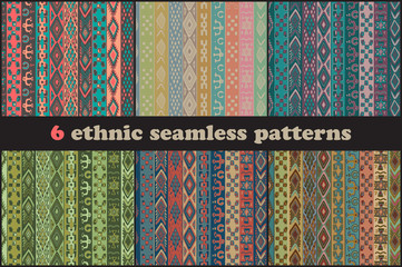 Set of six vector ethnic seamless patterns