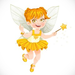 Cute little autumn fairy girl with a Magic wand isolated on a wh