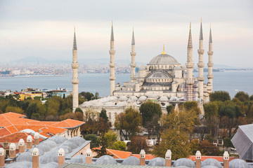 Aerial view of Blue Mosque in Istanbul