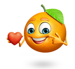 Cartoon character of orange