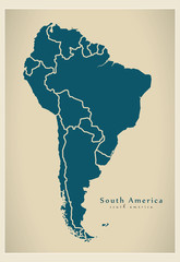 Modern Map - South America Map with all countries complete