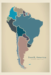 Modern Map - South America with all countries complete colored