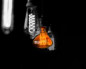 Hanged  orange decoration light bulbs focus on pear shape  one