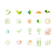 Eco friendly linear sketch drawing icons set