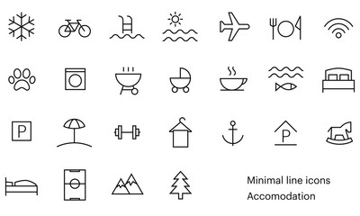 Accomodation icons, minimal, line