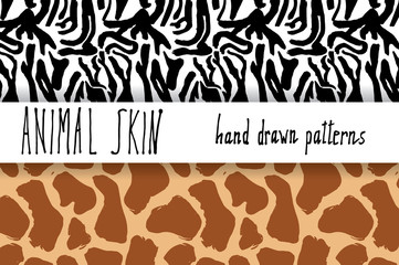Animal skin hand drawn texture, Vector seamless pattern set, sketch drawing zeebra and giraffe skin textures.