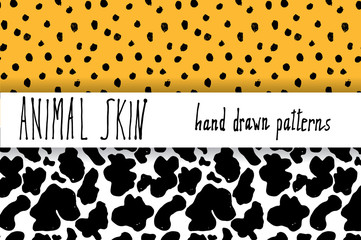 Animal skin hand drawn texture, Vector seamless pattern set, sketch drawing leapard dots and cow skin textures