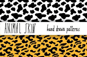 Animal skin hand drawn texture, Vector seamless pattern set, sketch drawing cheetah, dalmatian, skin textures