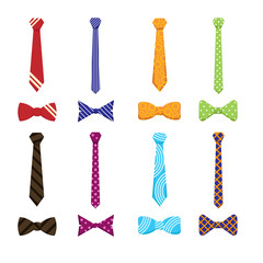 Wall Mural - Flat neckties and bow ties icons