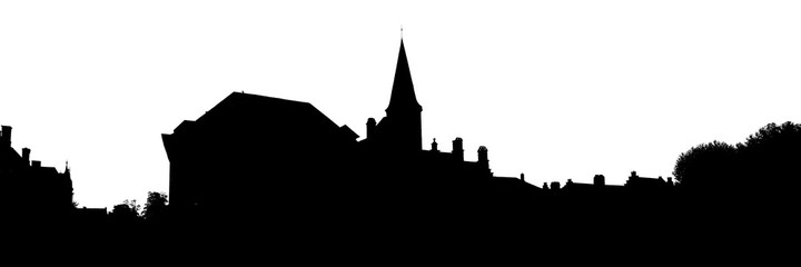 Bruges old town skyline monochrome silhouette Wall mural