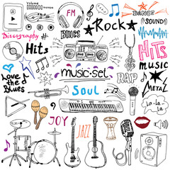 Music items doodle icons set. Hand drawn sketch with notes, instruments, microphone, guitar, headphone, drums, music player and music styles letterig signs, vector illustration, isolated