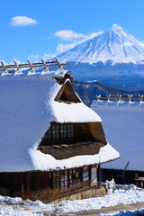 Mt.Fuji and Old houses