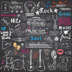 Music items doodle icons set. Hand drawn sketch with notes, instruments, microphone, guitar, headphone, drums, music player and music styles letterig signs, vector illustration, chalkboard background
