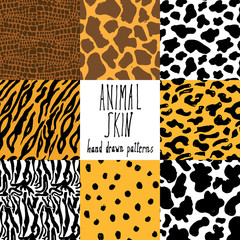 Animal skin hand drawn texture, Vector seamless pattern set, sketch drawing cheetah, cow, clocodile, tiger zeebra and giraffe skin textures