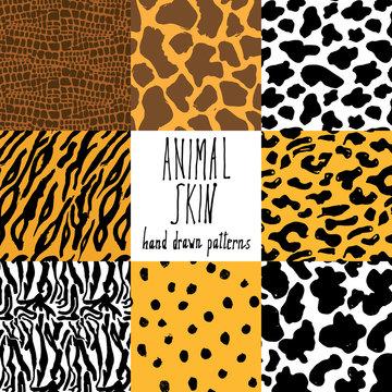 Animal skin hand drawn texture, Vector seamless pattern set, sketch drawing cheetah, cow, clocodile, tiger zeebra and giraffe skin textures