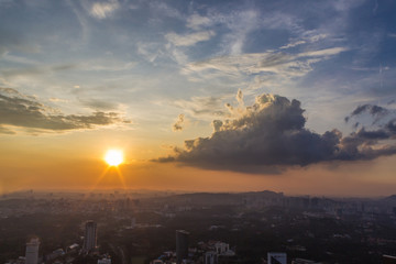 sunset  clouds over Kuala Lumpur city centre