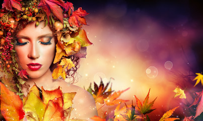 Magic Autumn Woman - Beauty Fashion Model Girl