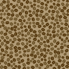 Seamless vector pattern with coffee beans.