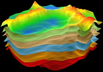 abstract terrain, geology cut layers scheme, 3d render isolated on black Wall mural