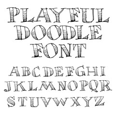Hand Drawn Sketch Alphabet  for Print or Web