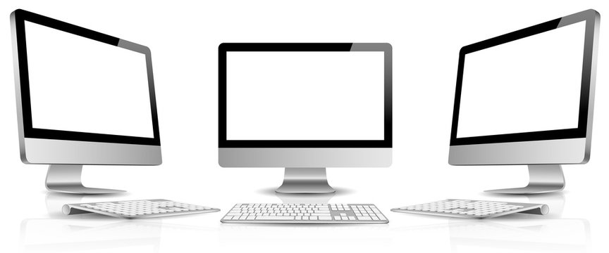 PC monitor blank screen with keyboard vector set isolated