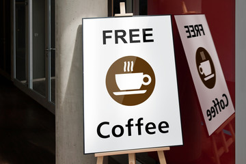 Frame with free coffee poster