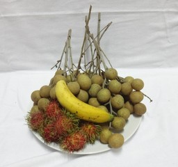 rambutan longan and banana