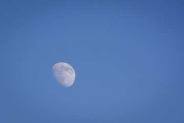Waxing gibbous moon during daylight hours