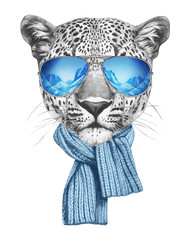Portrait of Leopard with mirror sunglasses and scarf. Hand drawn illustration.