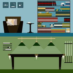 library and billiard room interior isolated on stylish cover. Bright modern illustration in trendy flat style for use in design for card, invitation, poster, banner, placard or billboard background