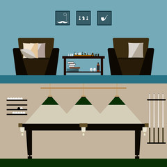 men's and billiard room interiors isolated on stylish cover. Bright modern illustration in trendy flat style for use in design for for card, invitation, poster, banner, placard or billboard background