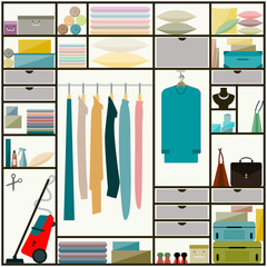 sliding-door wardrobe with clothes and some household items