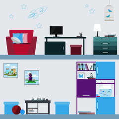 children room interior in trendy flat style for use in design for for card, invitation, poster, banner, placard or billboard cover