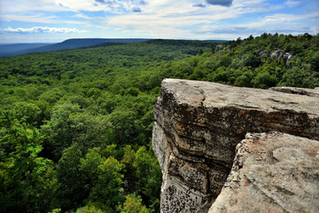 Aluminium Prints Natural Park Massive rocks and view to the valley at Minnewaska State Park Reserve Upstate NY during summer time