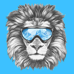 Portrait of Lion with ski goggles. Hand drawn illustration.