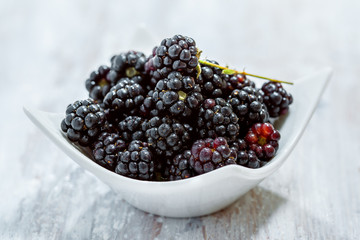 Bowl of fresh blackberries
