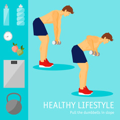 Exercises with dumbbells set. Healthy lifestyle and sports theme