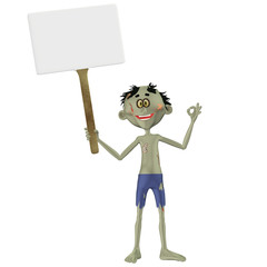 Illustration of a zombie holding a blank sign isolated on a white background