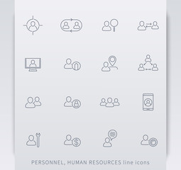 Personnel, Human resources, HR, staff management, linear icons, vector illustration, eps10, easy to edit