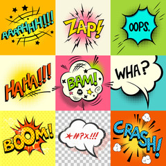 Comic Book Expressions! A set of comic book speech bubbles and expression words. Vector illustration