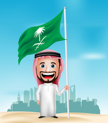 3D Realistic Saudi Arab Man Cartoon Character Holding and Waving Flag