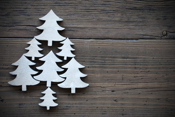 Christmas Trees On Brown Wooden Background Frame